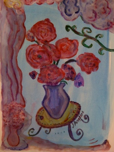 Love this one. It's two vases of flowers and some fluffy pink drapes as seen from outside. This is made just to hang as a gift to yourself or a friend. I think it would look nice either over a bedside table, in a restaurant or over a lamp next to a sofa. Also, I would love to look at this painting in my office to cheer my spirit.