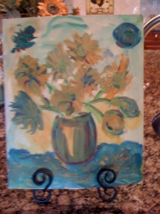 Displayed at Coto de Caza, California. Sunflowers. My first commission. This is an oil painting.