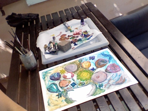 Painting flowers in my garden.