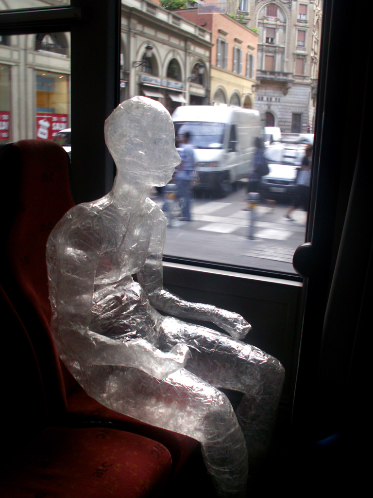 Tape Person on the Bus by Elena Tommesani