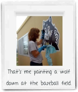 Me painting a wolf.